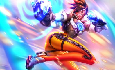Tracer, girl, overwatch game, video game