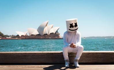 Marshmello, DJ, music, sitting