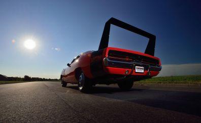 Dodge Daytona, rear view, red car