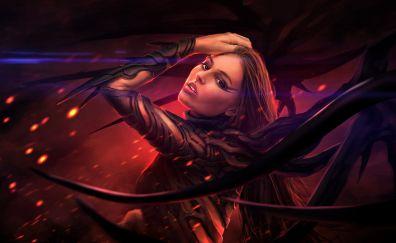 Fantasy, woman, wings, dark