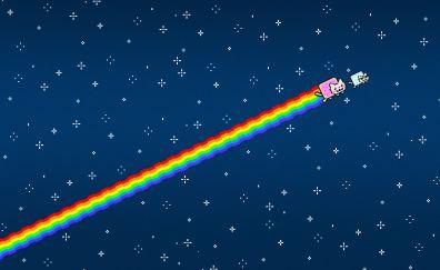 Nyan cat in sky minimal