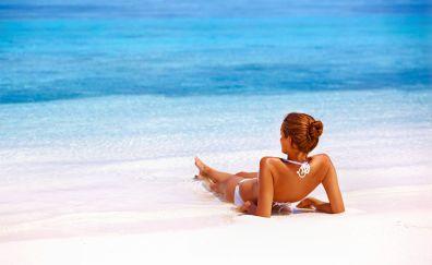 Beach, girl, model, bikini, summer, holiday