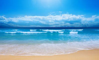 Small sea waves at beach