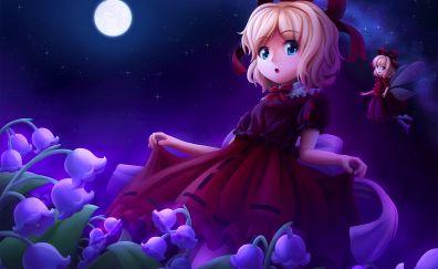 Cute anime girl, Medicine Melancholy, Touhou, night