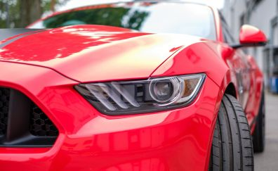 Mustang GT, sports, red car, headlight
