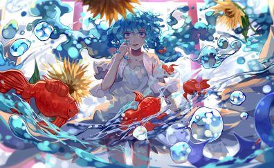 Hatsune Miku, red fishes, underwater, bubbles