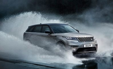 Silver Range Rover Velar, luxury SUV car, water splashes