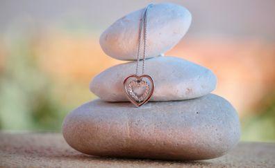 Jewellery, Necklace, heart, stones, rocks