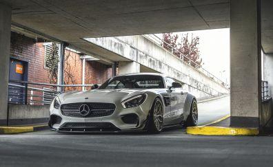 Sports car, Mercedes-AMG GT, sliver car, basement