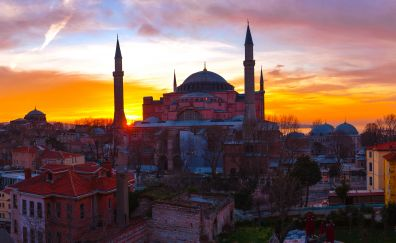 Istanbul, city, sunset, mosque, architecture