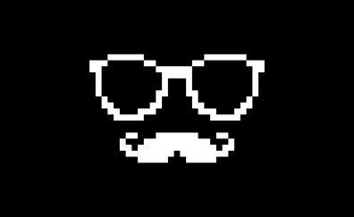 Glasses, mustache, pixel art