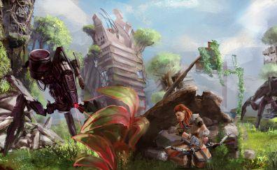 Aloy, warrior, Horizon zero dawn video game, artwork
