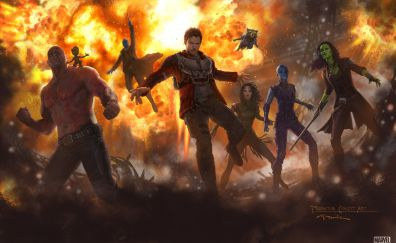 2017 movie, Guardians of the Galaxy Vol. 2, movie, team, art