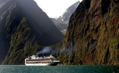 New zealand cruise ship in ocean