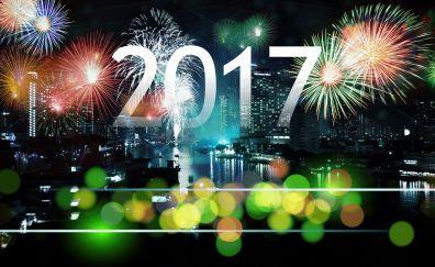 2017 new year, city lights