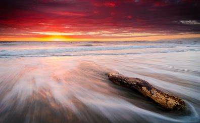 Sunset, beach, sea waves, nature