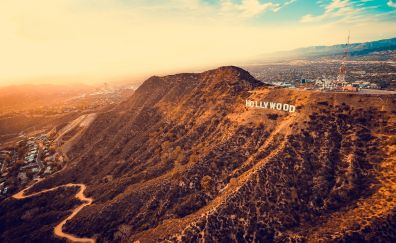 Hollywood, mountains, Los Angeles