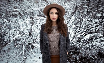 Girl model with hat