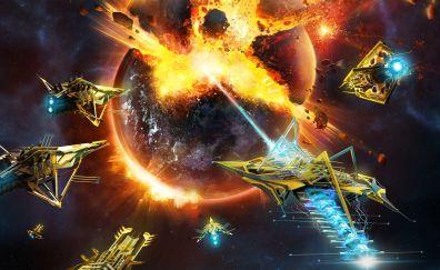 Starpoint Gemini Warlords, planet, blast, video game