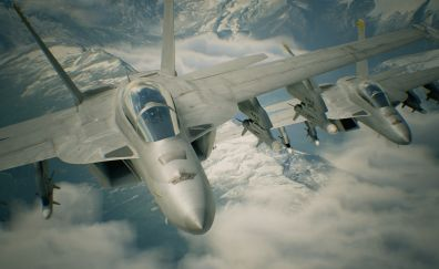 Ace Combat 7: Skies Unknow, sky, clouds, aircraft, game, 4k