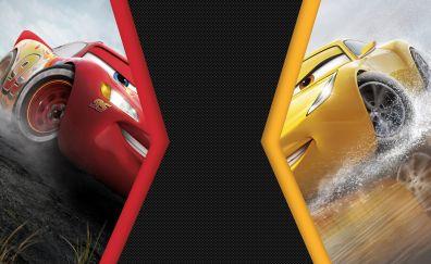 Cars 3, animation movie, Lightning McQueen vs Cruz Ramirez, 4k, 8k