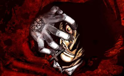 Hellsing, The Occult Researchers, face, hand, anime