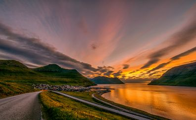 Sunset, road, landscape, town, mountains