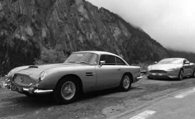 Aston Martin cars, sports, race cars monochrome