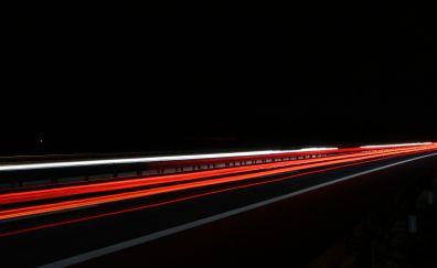 Exposure, highway, light trails
