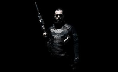 Ray Stevenson in Punisher: War Zone movie, gun, dark