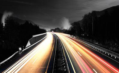 Highway, road, night, light trails