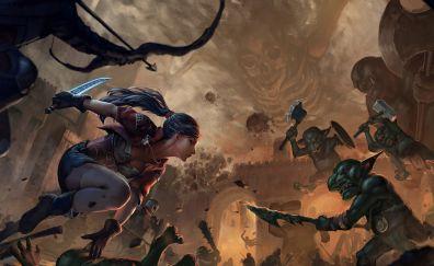 Fantasy, girl warrior artwork