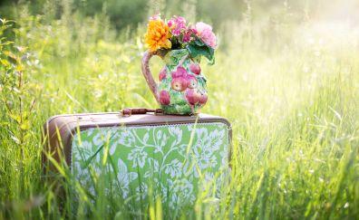 Bouquet, flowers, suitcase