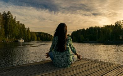 Meditation, yoga, dock, girl