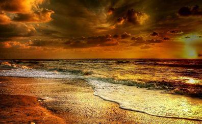 Denmark beach, sunset, sea waves, north sea, nature