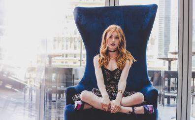 Katherine McNamara, sitting, red head