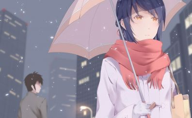 Mitsuha Miyamizu, Taki Tachibana, anime, umbrella, rain