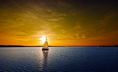 Skyline, sunset, sailboat, ship, sea