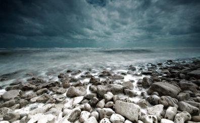 White stones rocky beach