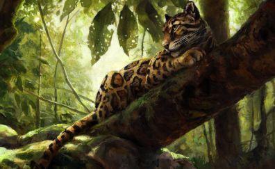 Leopard, predator, animal, art
