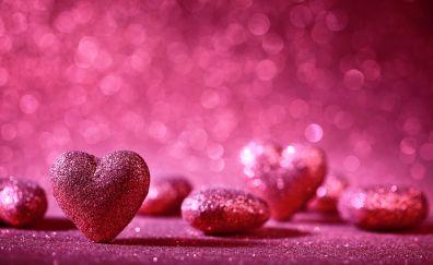 Bokeh, heart, pink
