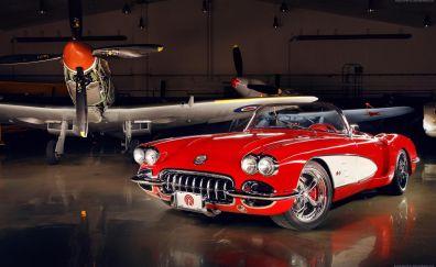 Chevrolet Corvette (C1), red classic car, airplane