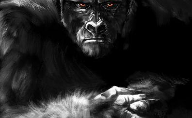 Dark, Kong, monkey, gorilla, art, Kong: skull island
