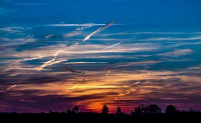 Sunset, evening, skyline, clouds