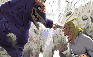 All Might, Boku no Hero Academia, anime boy, fight