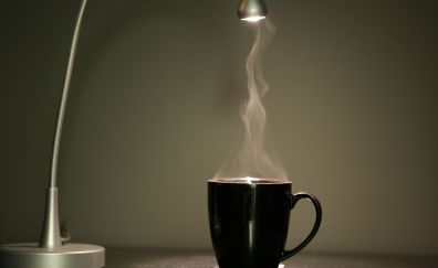 Hot cafe, coffee cup, cup, steam