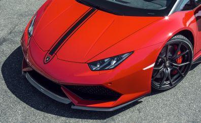 Lamborghini, car, front view, red car