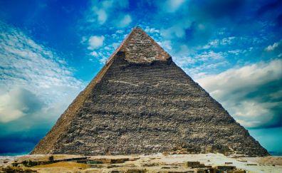 Pyramid, Giza Pyramids, desert, Ancient architecture