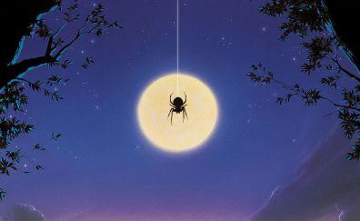 Spider, night, moon, Arachnophobia, 1990 movie