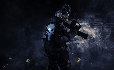 Mask man, payday 2, video game, dark